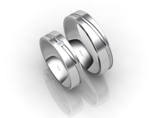 His and Hers Matching Set Palladium Court Wedding Ring-D20100-6603-001P