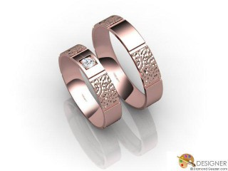 His and Hers Matching Set 18ct. Rose Gold Flat-Court Wedding Ring-D20108-0408-001P