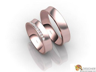 His and Hers Matching Set 18ct. Rose Gold Court Wedding Ring-D20109-0403-010P