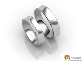 His and Hers Matching Set 18ct. White Gold Court Wedding Ring-D20109-0503-010P