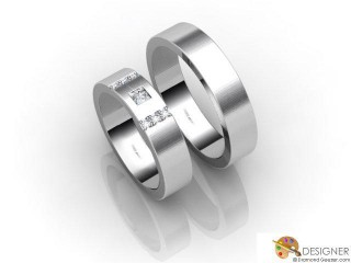 His and Hers Matching Set Palladium Flat-Court Wedding Ring-D20110-6603-007P