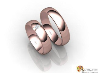 His and Hers Matching Set 18ct. Rose Gold Court Wedding Ring-D20115-0401-001P