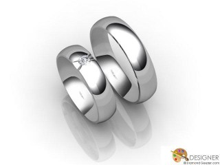 His and Hers Matching Set 18ct. White Gold Court Wedding Ring-D20115-0501-001P