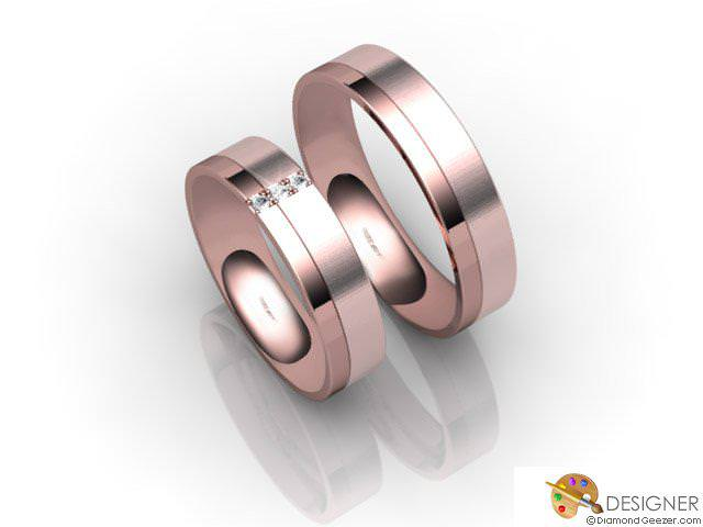 His and Hers Matching Set 18ct. Rose Gold Flat-Court Wedding Ring