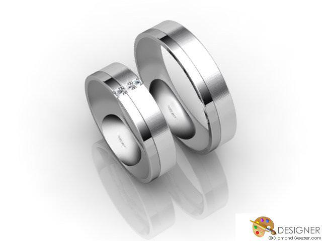 His and Hers Matching Set 18ct. White Gold Flat-Court Wedding Ring
