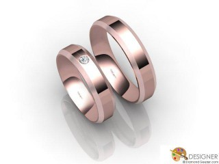 His and Hers Matching Set 18ct. Rose Gold Flat-Court Wedding Ring-D20126-0403-001P