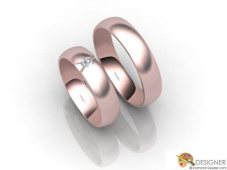 His and Hers Matching Set 18ct. Rose Gold Court Wedding Ring-D20140-0403-001P