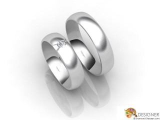 His and Hers Matching Set 18ct. White Gold Court Wedding Ring-D20140-0503-001P