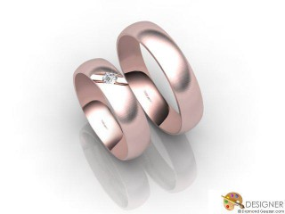 His and Hers Matching Set 18ct. Rose Gold Court Wedding Ring-D20143-0403-001P