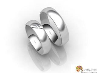 His and Hers Matching Set Palladium Court Wedding Ring-D20143-6603-001P