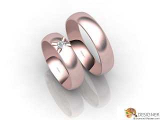 His and Hers Matching Set 18ct. Rose Gold Court Wedding Ring-D20144-0403-001P
