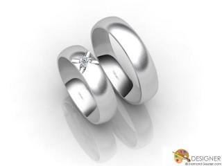 His and Hers Matching Set 18ct. White Gold Court Wedding Ring-D20144-0503-001P