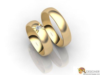His and Hers Matching Set 18ct. Yellow Gold Court Wedding Ring-D20144-1803-001P