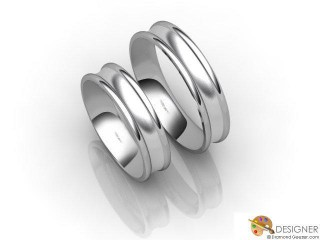 His and Hers Matching Set Platinum Court Wedding Ring-D20145-0103-000P