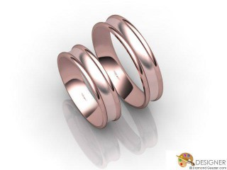 His and Hers Matching Set 18ct. Rose Gold Court Wedding Ring-D20145-0403-000P
