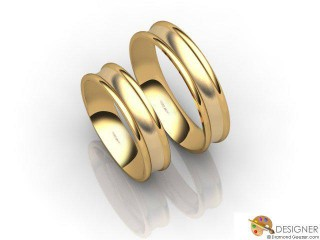 His and Hers Matching Set 18ct. Yellow Gold Court Wedding Ring-D20145-1803-000P