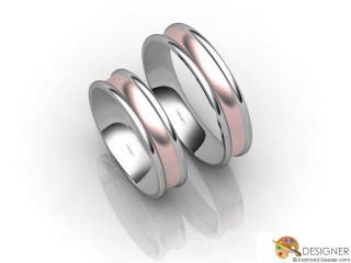 His and Hers Matching Set 18ct. White and Rose Gold Court Wedding Ring-D20145-2403-000P
