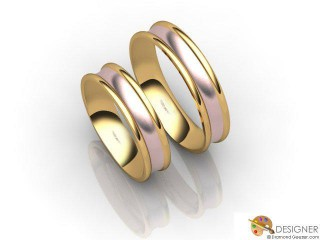 His and Hers Matching Set 18ct. Rose and Yellow Gold Court Wedding Ring-D20145-2503-000P