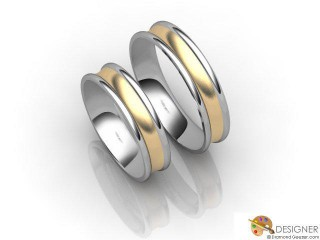 His and Hers Matching Set 18ct. Yellow and White Gold Court Wedding Ring-D20145-2803-000P
