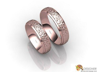 His and Hers Matching Set 18ct. Rose Gold Court Wedding Ring-D20149-0408-000P