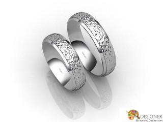 His and Hers Matching Set 18ct. White Gold Court Wedding Ring-D20149-0508-000P