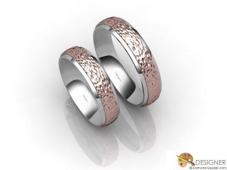 His and Hers Matching Set 18ct. White and Rose Gold Court Wedding Ring-D20149-2408-000P
