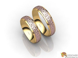 His and Hers Matching Set 18ct. Rose and Yellow Gold Court Wedding Ring-D20149-2508-000P