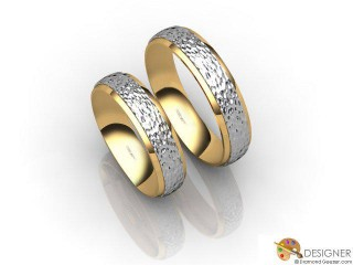 His and Hers Matching Set 18ct. Yellow and White Gold Court Wedding Ring-D20149-2808-000P