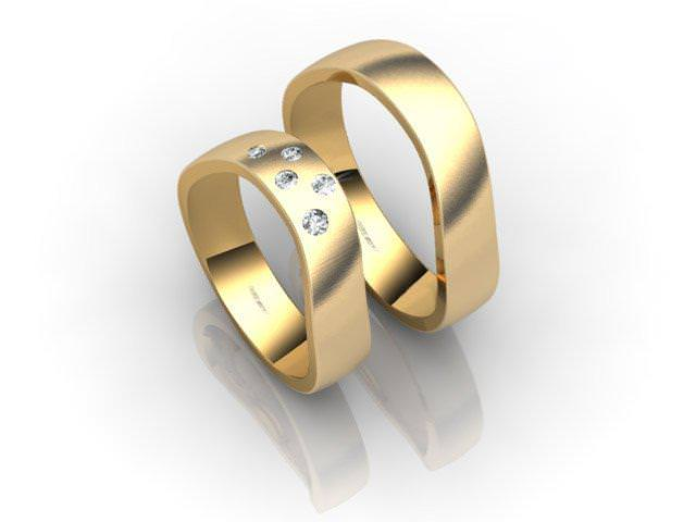 His and Hers Matching Set 18ct. Yellow Gold Court Wedding Ring
