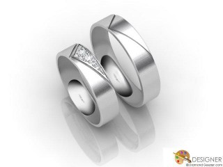 His and Hers Matching Set Platinum Court Wedding Ring-D20156-0101-007P