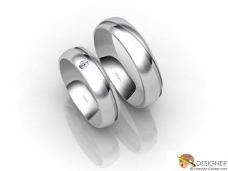 His and Hers Matching Set Palladium Court Wedding Ring-D20157-6603-001P