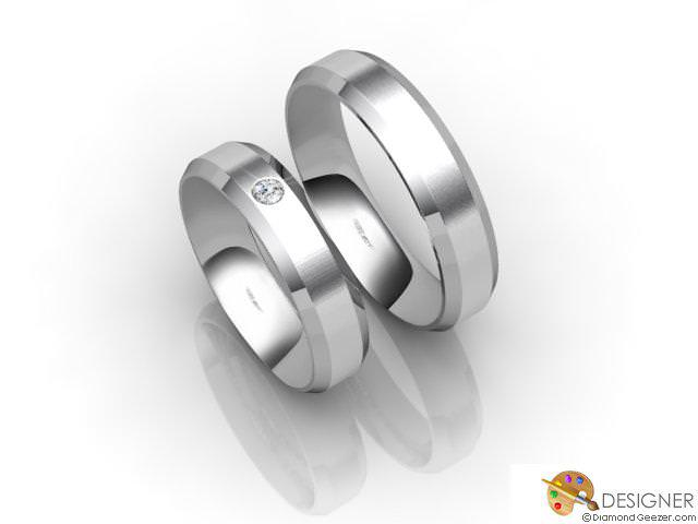 His and Hers Matching Set Palladium Flat-Court Wedding Ring