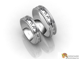 His and Hers Matching Set Platinum Court Wedding Ring-D20166-0101-000P