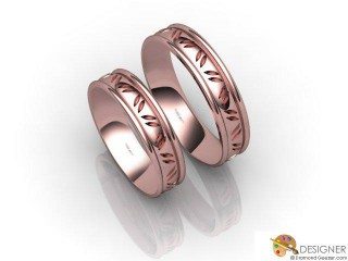 His and Hers Matching Set 18ct. Rose Gold Court Wedding Ring-D20166-0401-000P