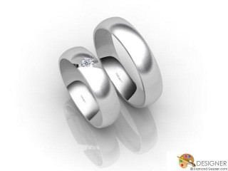 His and Hers Matching Set 18ct. White Gold Court Wedding Ring-D20171-0503-001P