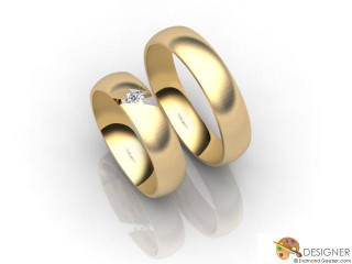 His and Hers Matching Set 18ct. Yellow Gold Court Wedding Ring-D20171-1803-001P
