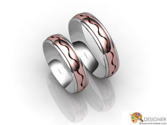 His and Hers Matching Set 18ct. White and Rose Gold Court Wedding Ring