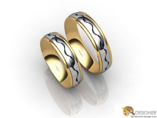 His and Hers Matching Set 18ct. Yellow and White Gold Court Wedding Ring-D20191-2801-000P