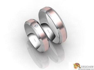 His and Hers Matching Set 18ct. White and Rose Gold Court Wedding Ring-D20192-2401-001P