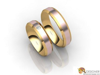 His and Hers Matching Set 18ct. Rose and Yellow Gold Court Wedding Ring-D20192-2501-001P