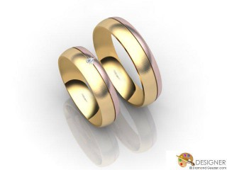 His and Hers Matching Set 18ct. Rose and Yellow Gold Court Wedding Ring-D20203-2503-001P