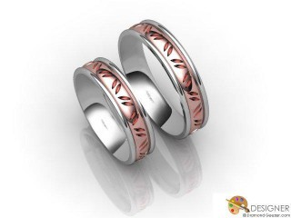 His and Hers Matching Set 18ct. White and Rose Gold Court Wedding Ring-D20204-2401-000P