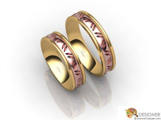 His and Hers Matching Set 18ct. Rose and Yellow Gold Court Wedding Ring-D20204-2501-000P