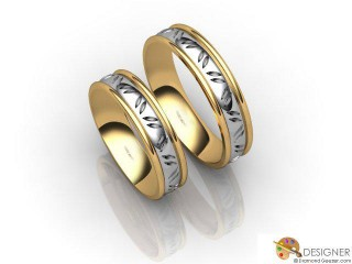 His and Hers Matching Set 18ct. Yellow and White Gold Court Wedding Ring-D20204-2801-000P