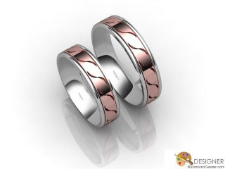 His and Hers Matching Set 18ct. White and Rose Gold Court Wedding Ring-D20205-2401-000P
