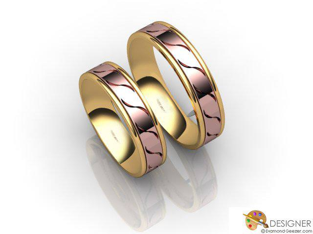 His and Hers Matching Set 18ct. Rose and Yellow Gold Court Wedding Ring