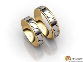 His and Hers Matching Set 18ct. Yellow and White Gold Court Wedding Ring-D20205-2801-000P