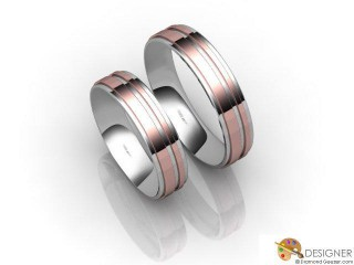 His and Hers Matching Set 18ct. White and Rose Gold Court Wedding Ring-D20206-2401-000P