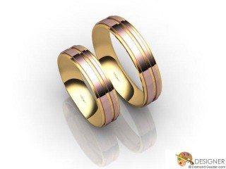 His and Hers Matching Set 18ct. Rose and Yellow Gold Court Wedding Ring-D20206-2501-000P