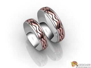 His and Hers Matching Set 18ct. White and Rose Gold Court Wedding Ring-D20207-2401-000P